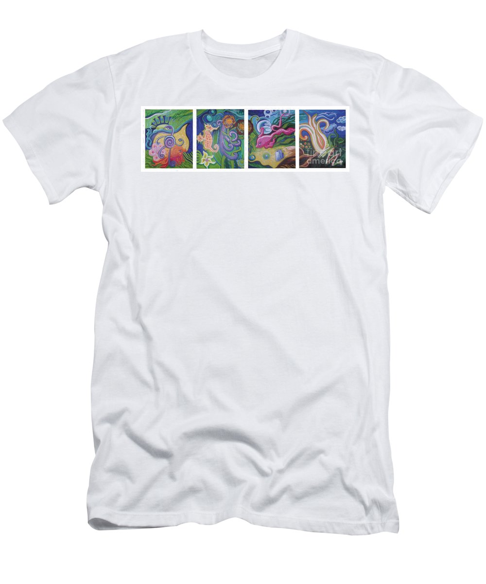 Reciprocal Liason Of The Sea Men's T-Shirt (Athletic Fit) featuring the painting Reciprocal Liason Of The Sea by Genevieve Esson