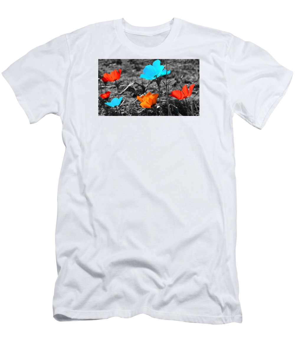 Flowers Men's T-Shirt (Athletic Fit) featuring the photograph Red And Blue Flowers On Gray Background by Nika Lerman