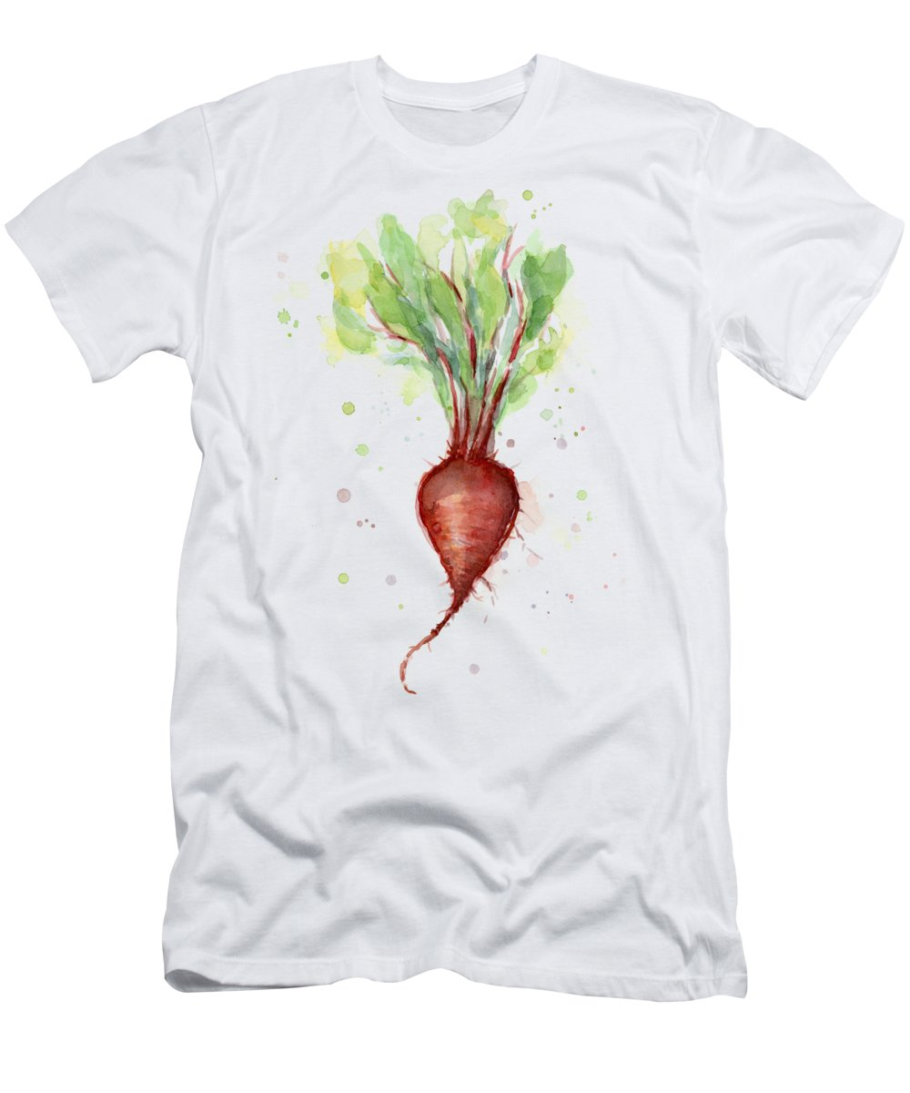 Watercolor T-Shirt featuring the painting Red Beet Watercolor by Olga Shvartsur