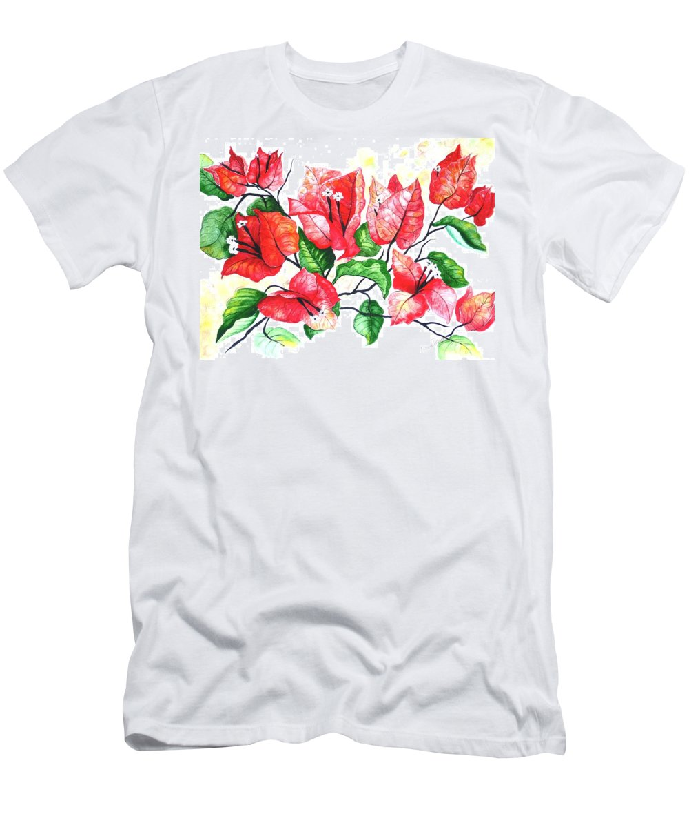 Red Flower T-Shirt featuring the painting Red Bouganvillia by Karin Dawn Kelshall- Best