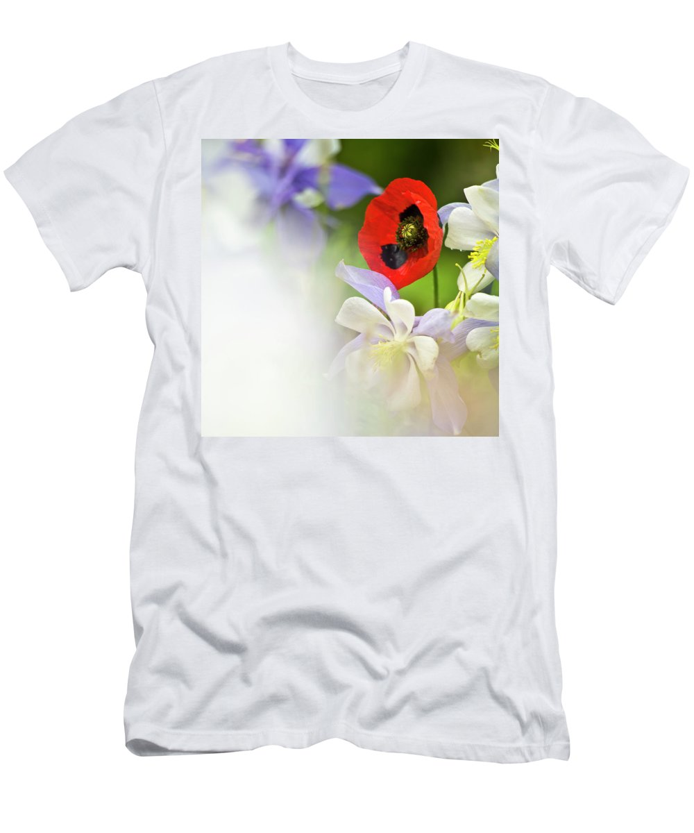 Poppy Men's T-Shirt (Athletic Fit) featuring the photograph Red Corn Poppy by Heiko Koehrer-Wagner
