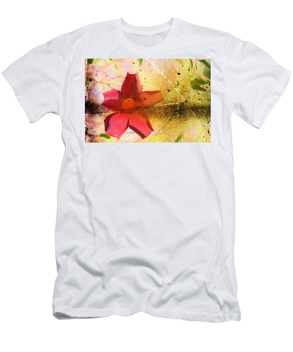 Red Men's T-Shirt (Athletic Fit) featuring the photograph Red Floral Grunge by Cassie Peters