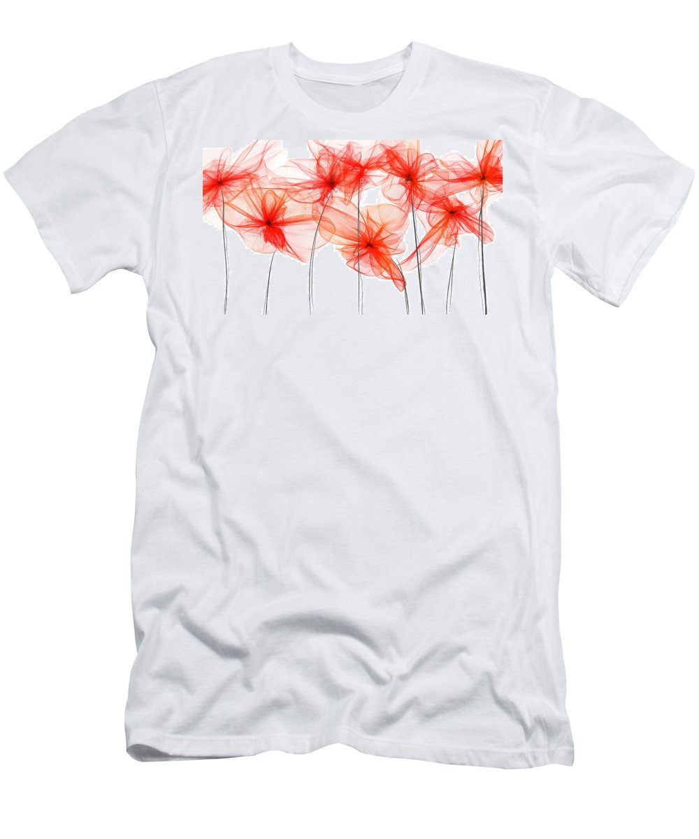 Poppies Men's T-Shirt (Athletic Fit) featuring the painting Red Floral - Red Modern Art II by Lourry Legarde