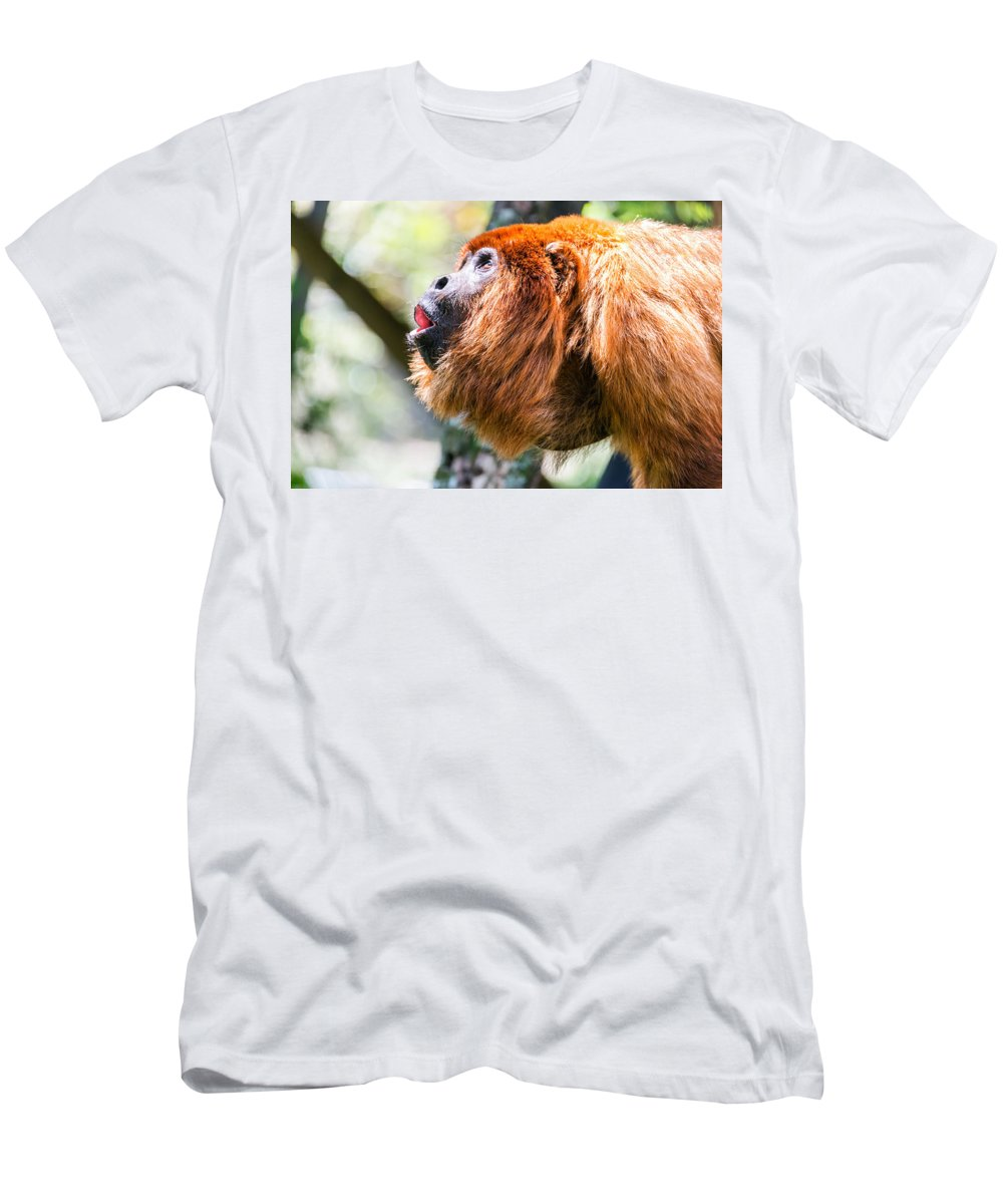 Monkey Men's T-Shirt (Athletic Fit) featuring the photograph Red Howler Monkey Alpha Male by Jess Kraft