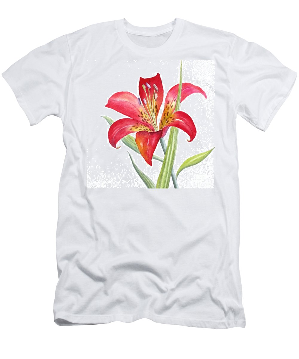 Lily Men's T-Shirt (Athletic Fit) featuring the painting Red Lily by Deborah Ronglien