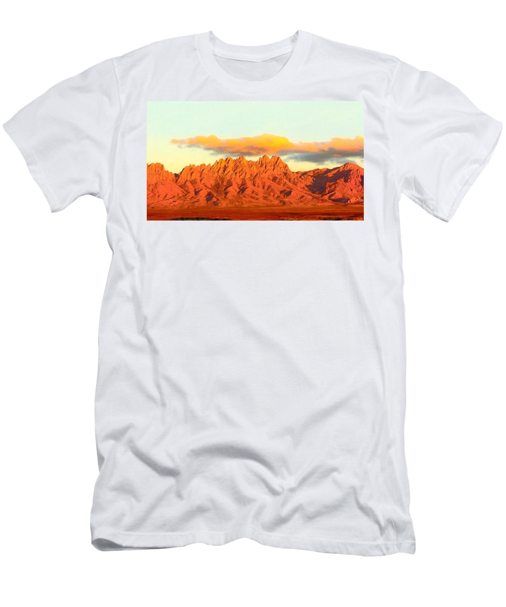 A Jack Pumphrey Photograph Of The Organ Mountains-desert Peaks National Monument T-Shirt featuring the photograph Red Mountain Sunset Organs by Jack Pumphrey