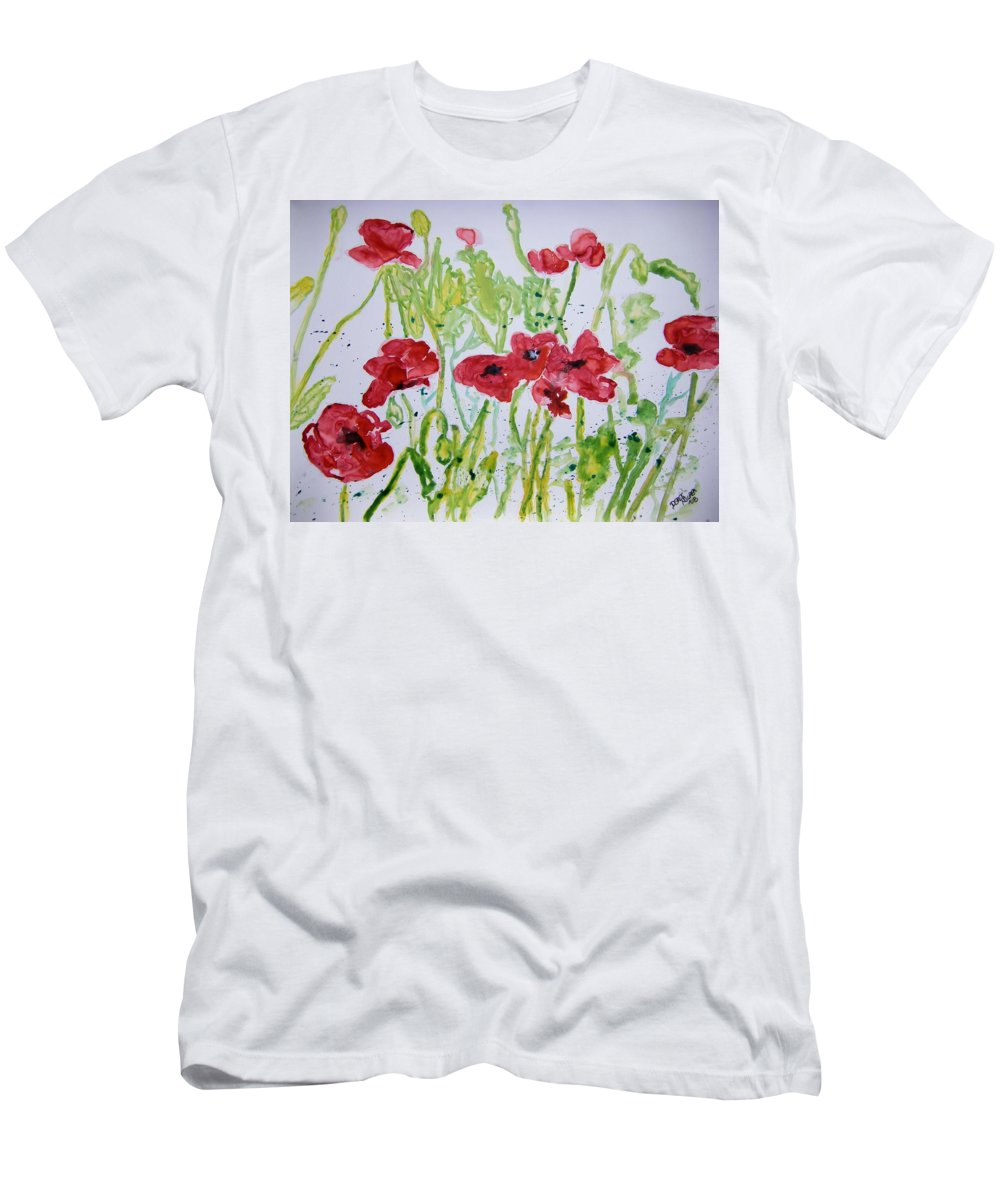 Poppy Men's T-Shirt (Athletic Fit) featuring the painting Red Poppy Flowers by Derek Mccrea