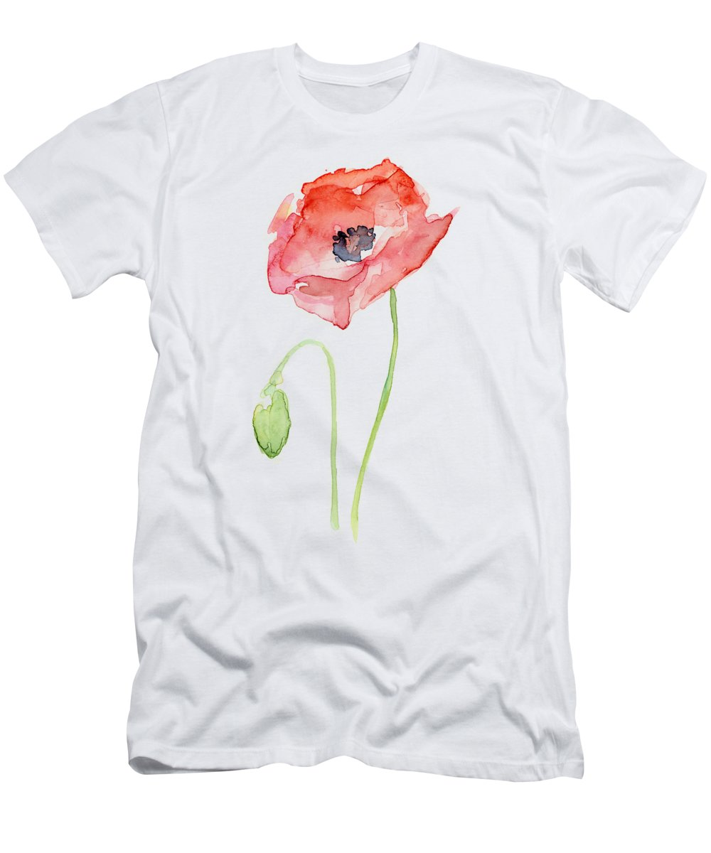 Poppy T-Shirt featuring the painting Red Poppy by Olga Shvartsur