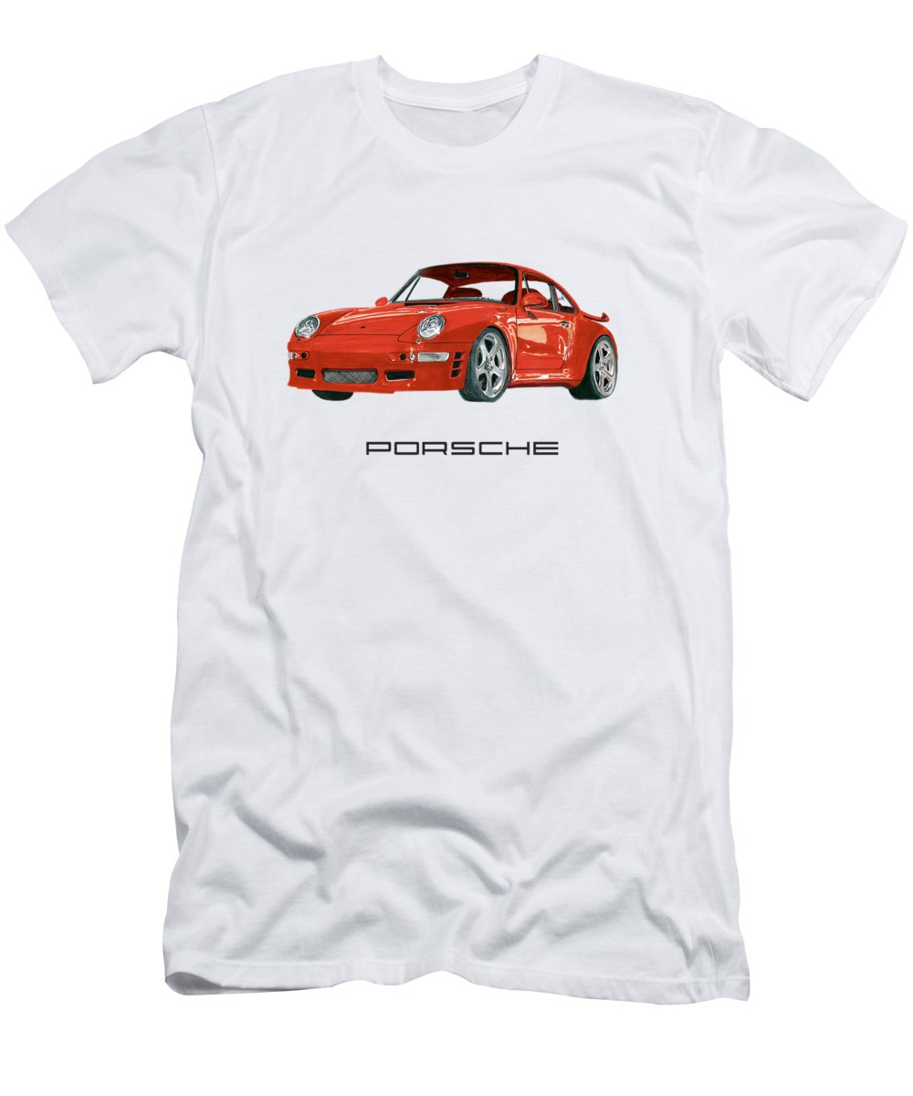 1997 Men's T-Shirt (Athletic Fit) featuring the painting 1997 Porsche 993 Twin Turbo R by Jack Pumphrey