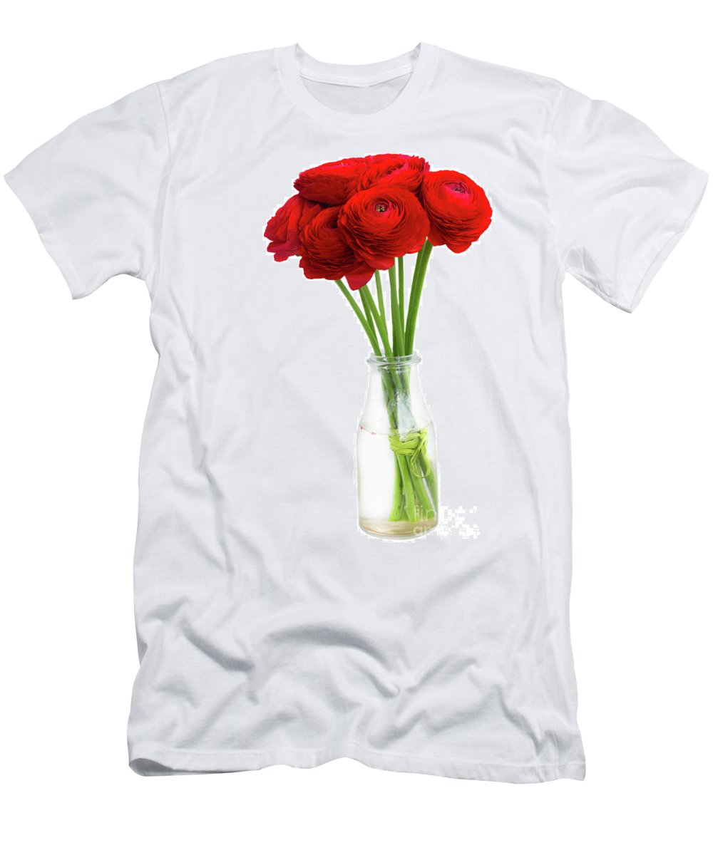 Ranunculus Men's T-Shirt (Athletic Fit) featuring the photograph Red Ranunculus Flowers by Anastasy Yarmolovich