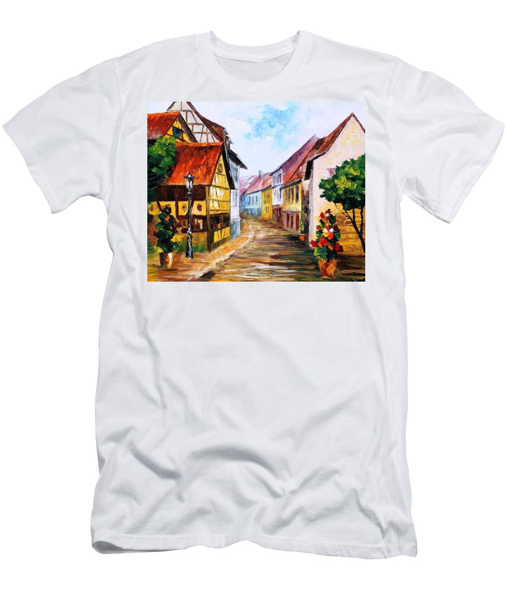 Art Gallery Men's T-Shirt (Athletic Fit) featuring the painting Red Roof - Palette Knife Oil Painting On Canvas By Leonid Afremov by Leonid Afremov