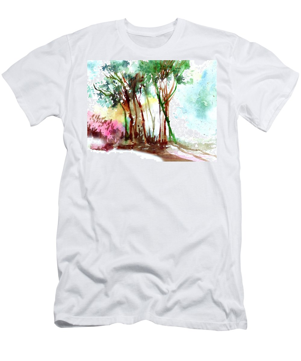 Landscape Men's T-Shirt (Athletic Fit) featuring the painting Red Trees by Anil Nene