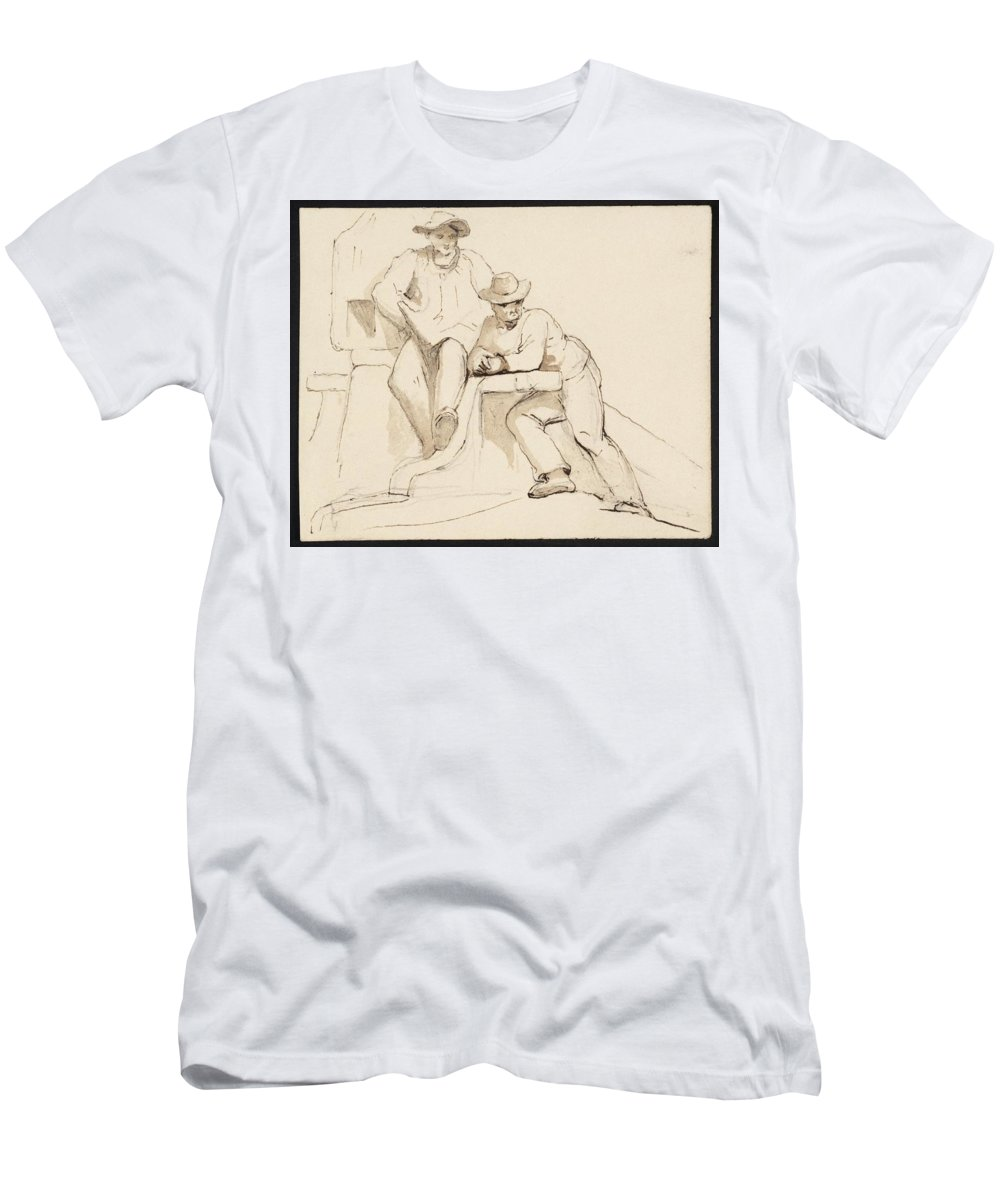 George Jones 1786�1869 Relaxing Men's T-Shirt (Athletic Fit) featuring the painting Relaxing by MotionAge Designs