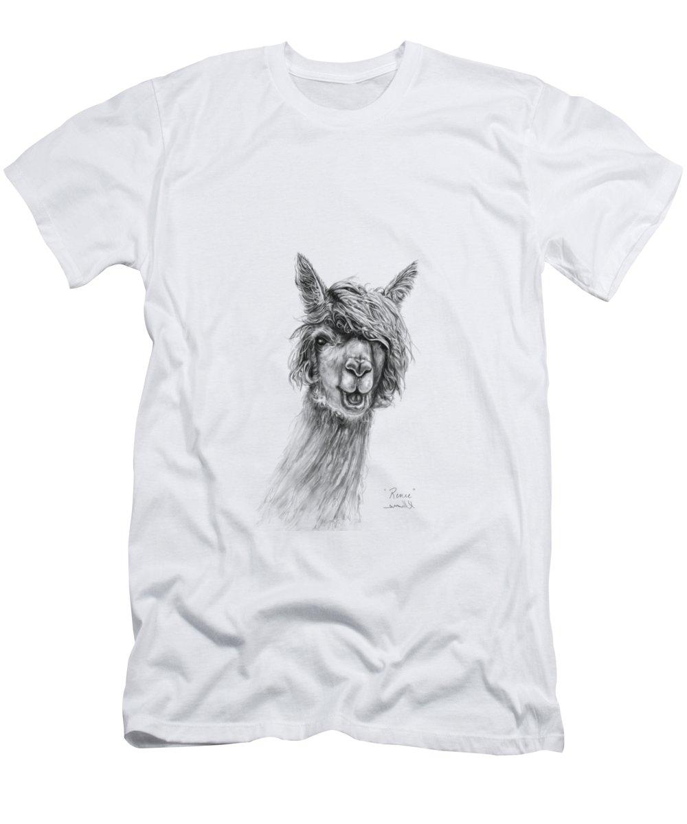 Llama Art Men's T-Shirt (Athletic Fit) featuring the drawing Renee by K Llamas