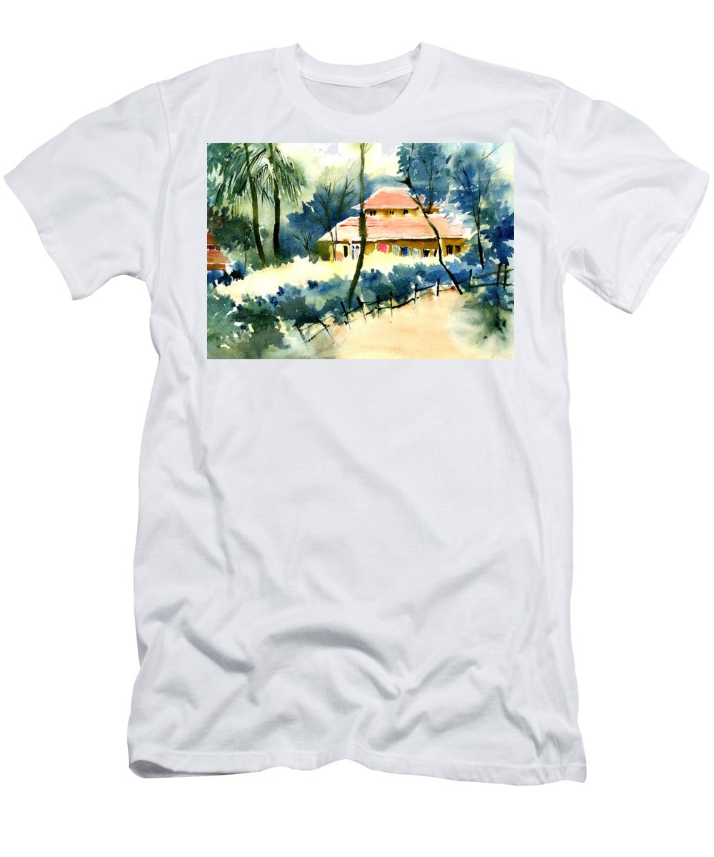 Landscape Men's T-Shirt (Athletic Fit) featuring the painting Rest House by Anil Nene
