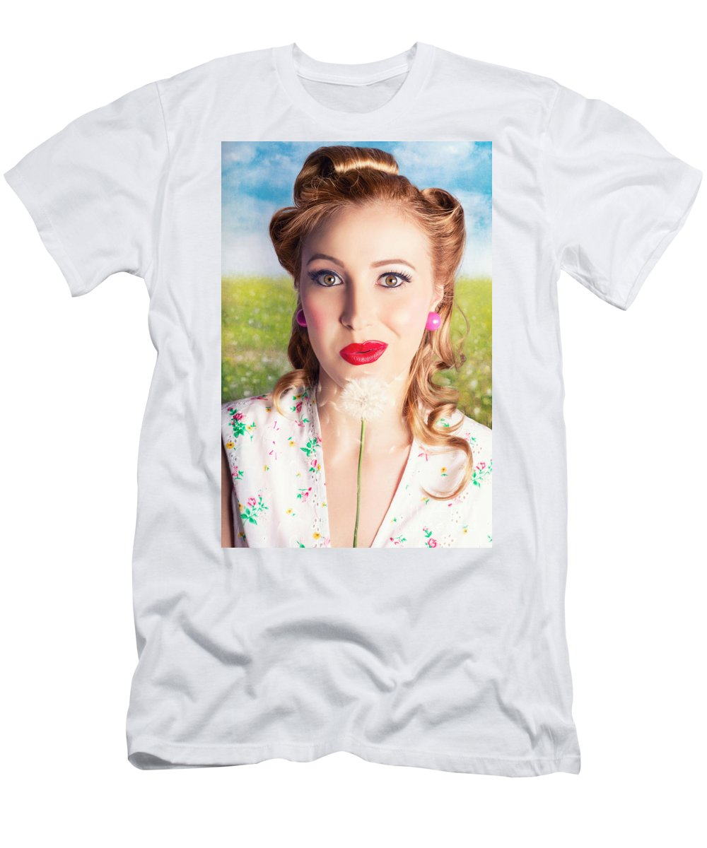 Airborne Men's T-Shirt (Athletic Fit) featuring the photograph Retro Blond Woman Blowing Dandelion Seeds by Jorgo Photography - Wall Art Gallery
