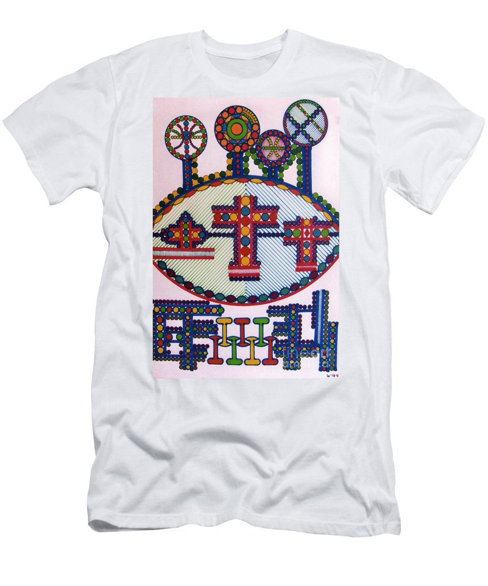 Abstract Crosses Men's T-Shirt (Athletic Fit) featuring the drawing Rfb0416 by Robert F Battles