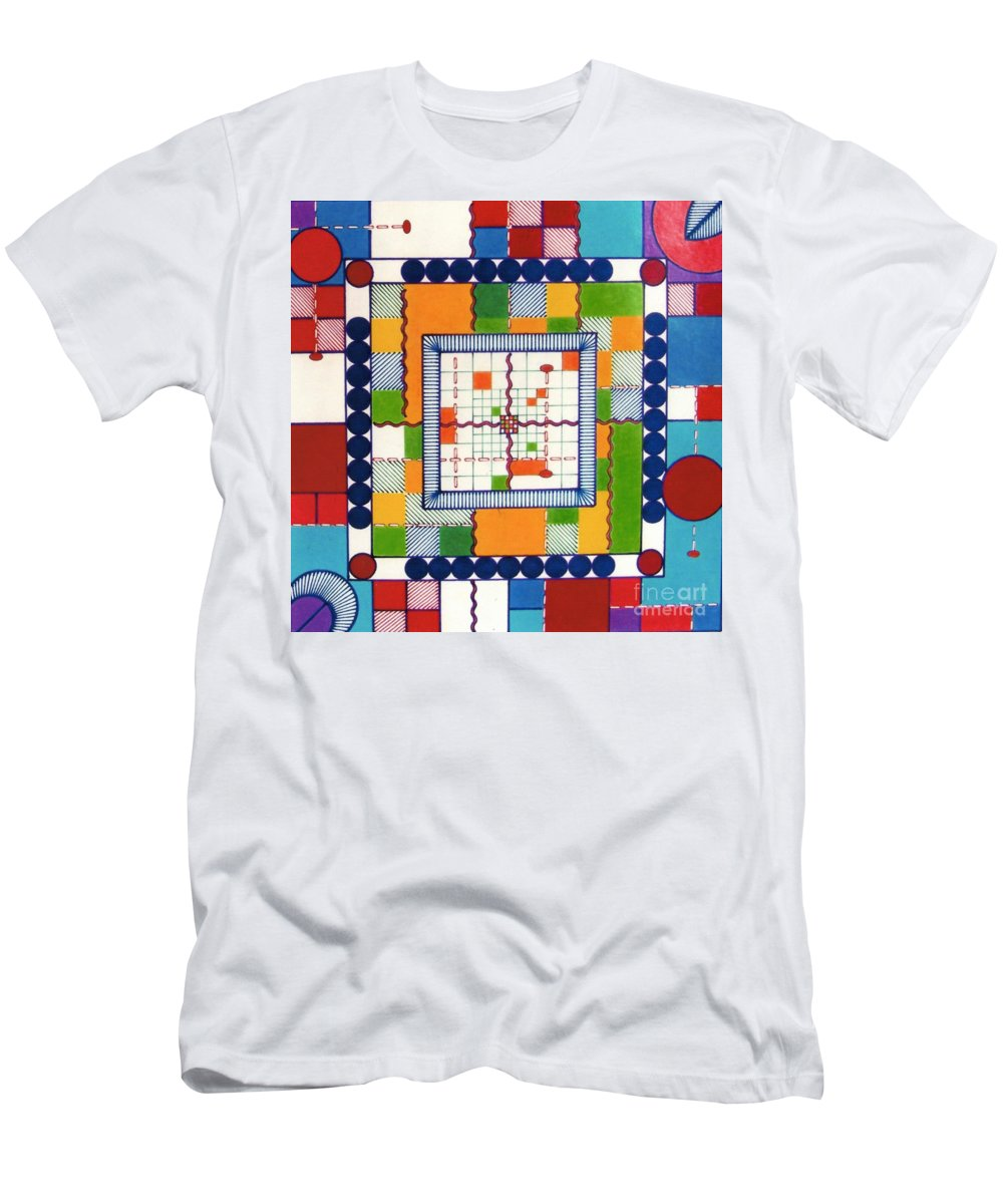 Square Bordum Men's T-Shirt (Athletic Fit) featuring the drawing Rfb0573 by Robert F Battles