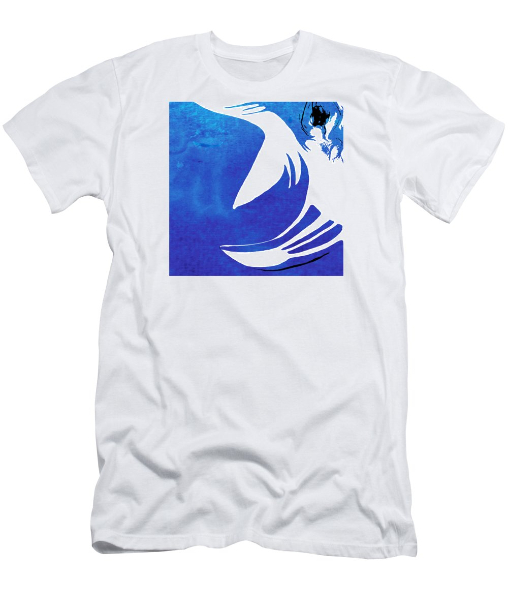 Rhino Men's T-Shirt (Athletic Fit) featuring the painting Rhino Animal Decorative Blue Poster 4 - By Diana Van by Diana Van