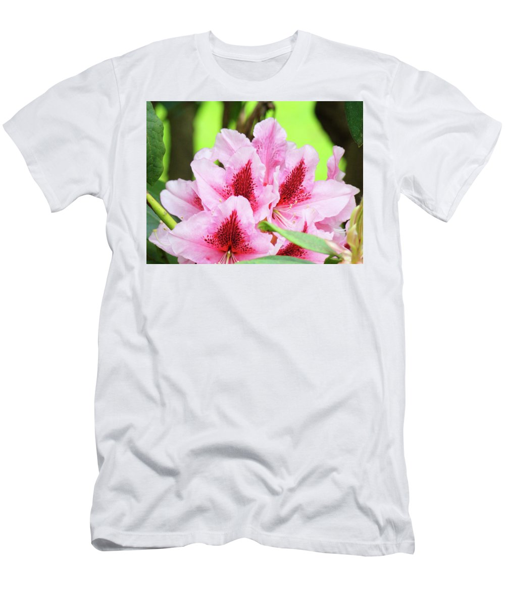Rhodie Men's T-Shirt (Athletic Fit) featuring the photograph Rhododendron Floral Art Prints Rhodies Flowers Canvas Baslee Troutman by Baslee Troutman