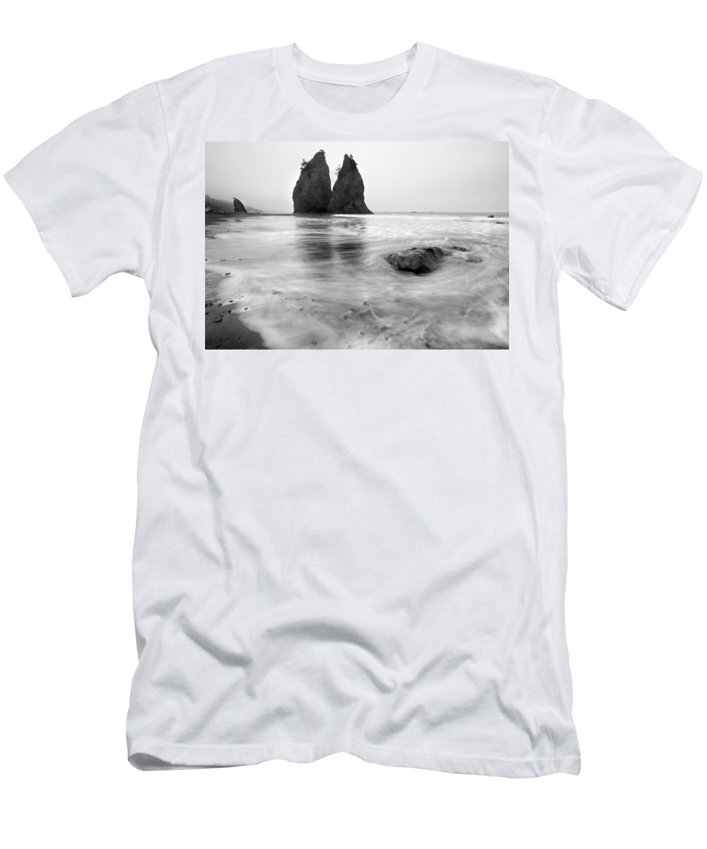 Beach Men's T-Shirt (Athletic Fit) featuring the photograph Rialto Reflections by Mike Dawson