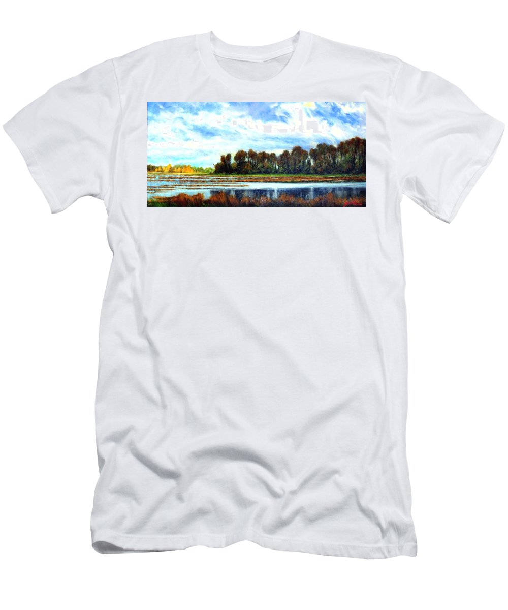 Landscapes Men's T-Shirt (Athletic Fit) featuring the painting Ridgefield Refuge Early Fall by Jim Gola