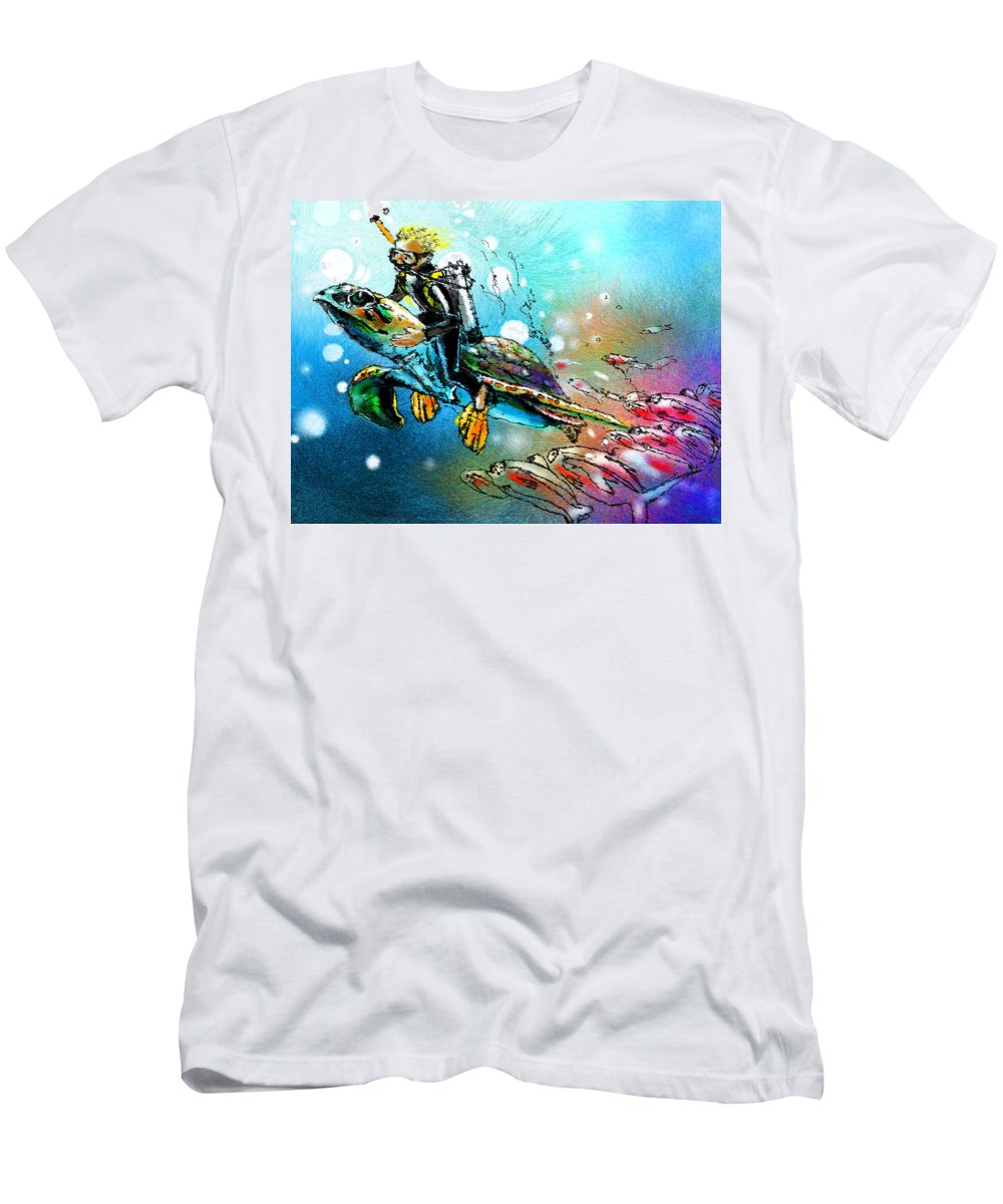 Turtle Painting Men's T-Shirt (Athletic Fit) featuring the painting Riding A Turtle by Miki De Goodaboom