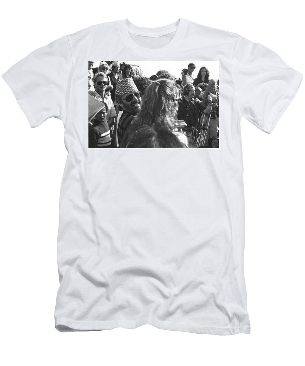 Ringo Men's T-Shirt (Athletic Fit) featuring the photograph Ringo Starr In Nepal by Omar Shafey