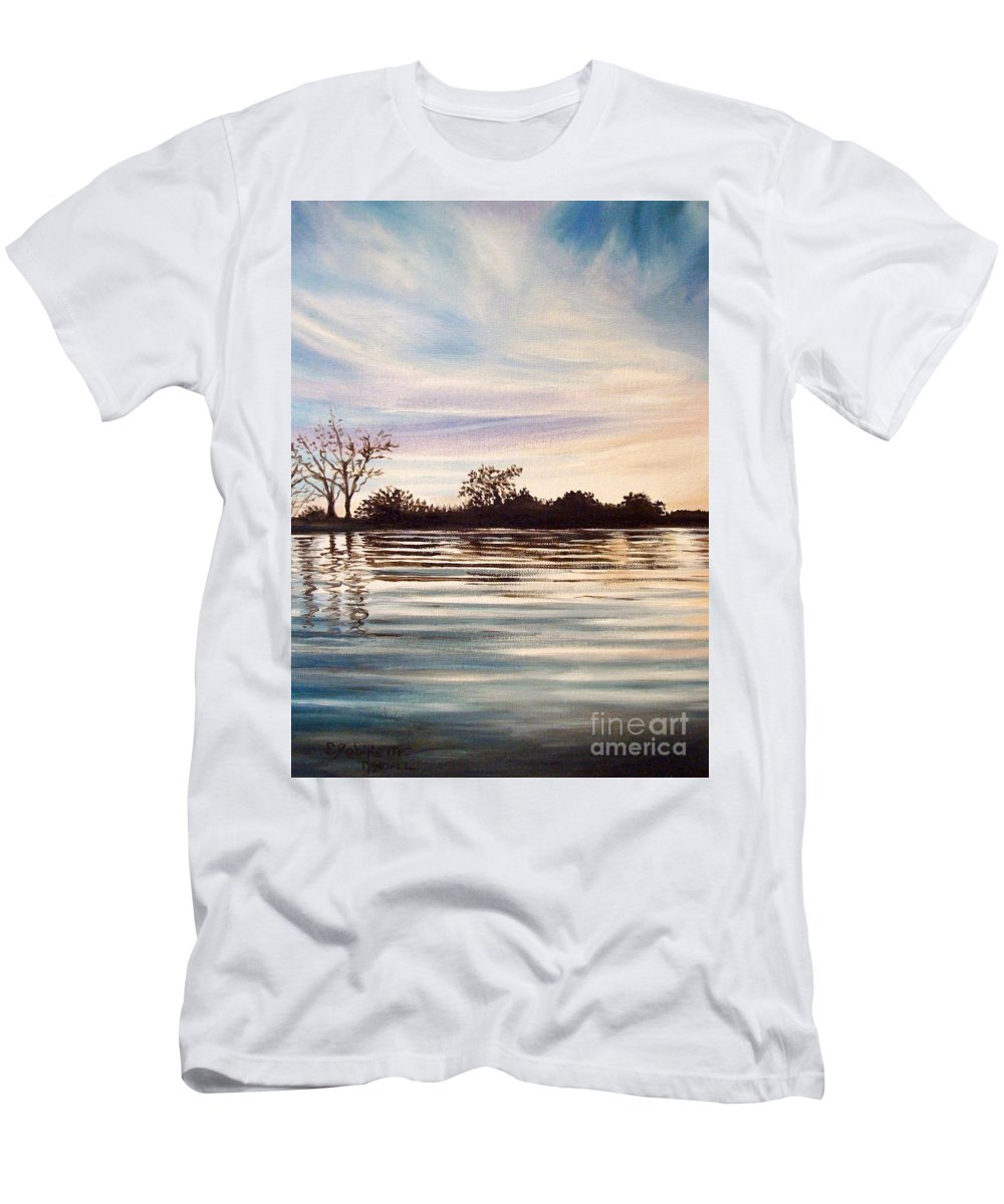 Oil Men's T-Shirt (Athletic Fit) featuring the painting Rippled Glass by Elizabeth Robinette Tyndall