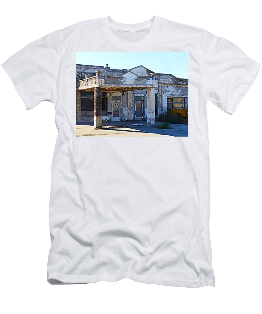 Gas Station Men's T-Shirt (Athletic Fit) featuring the photograph Ritzville Ruins by Tim Coleman