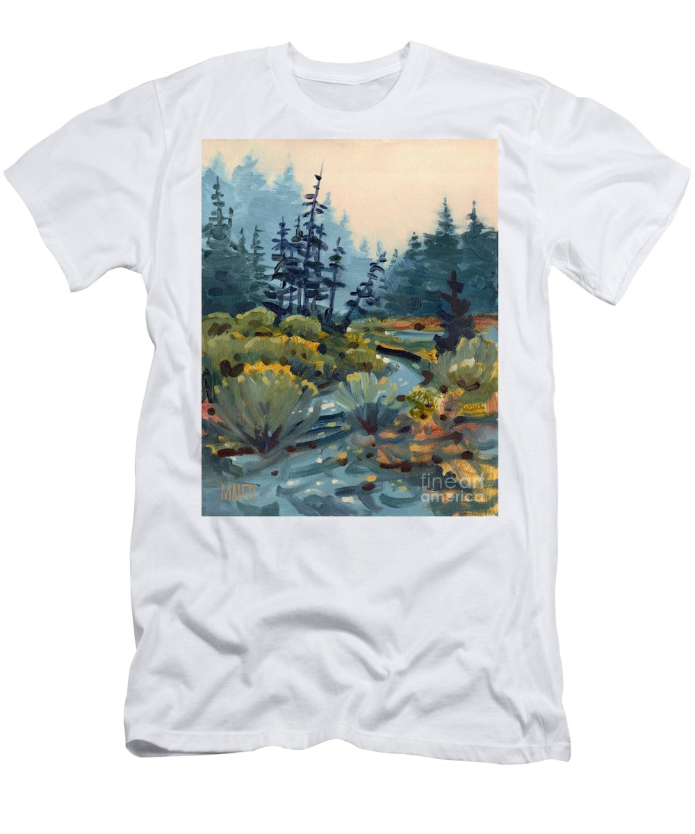 Russian River Men's T-Shirt (Athletic Fit) featuring the painting River Bend by Donald Maier