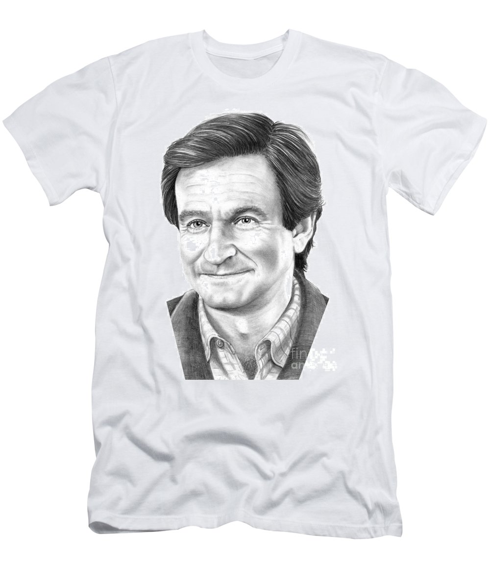 Pencil Men's T-Shirt (Athletic Fit) featuring the drawing Robin Williams by Murphy Elliott