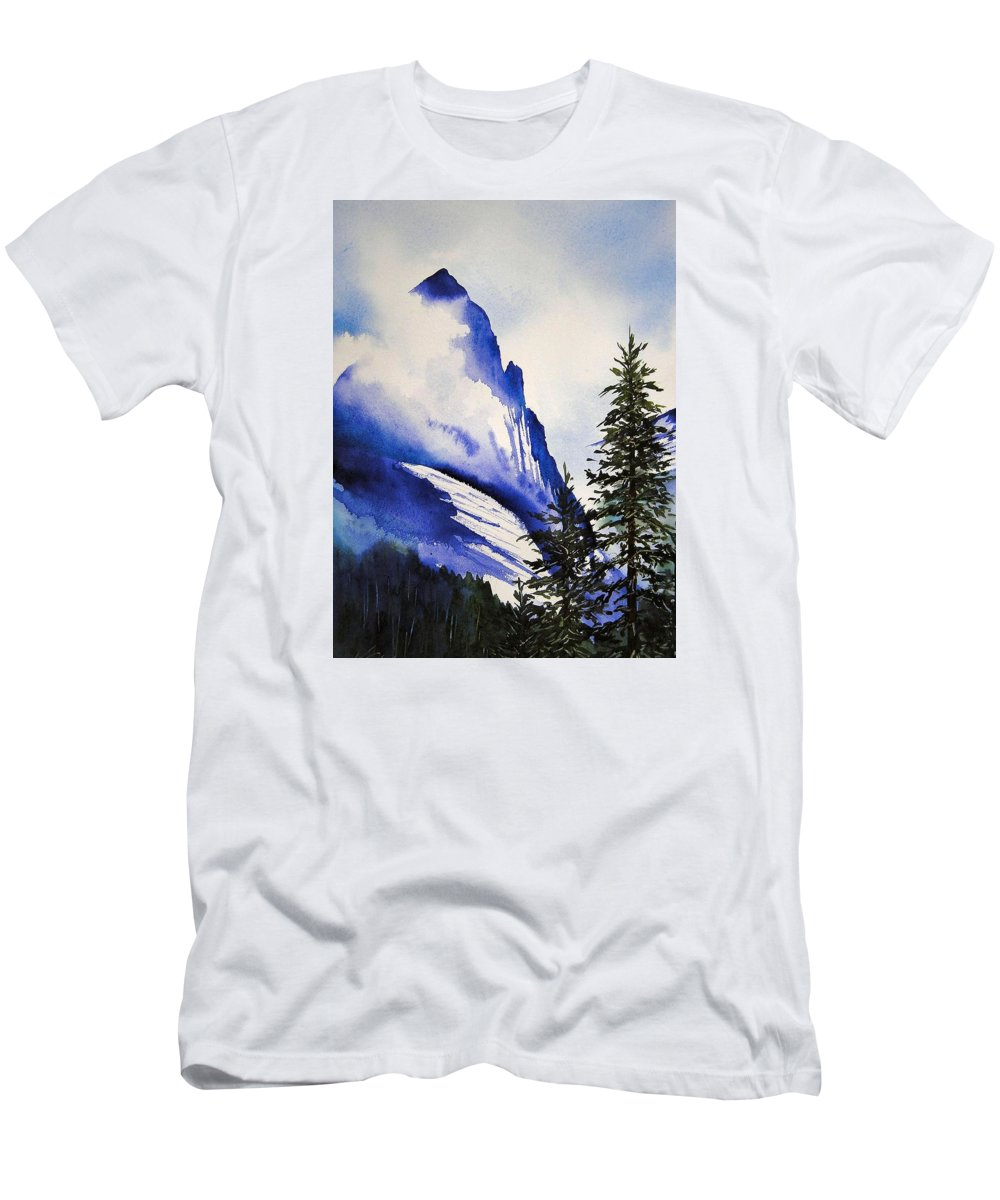 Rocky Mountains T-Shirt featuring the painting Rocky Mountain High by Karen Stark