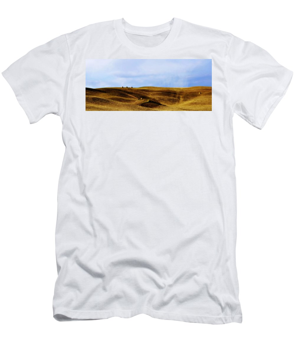 Italy Men's T-Shirt (Athletic Fit) featuring the photograph Rolling Hills Of Hay by Marilyn Hunt
