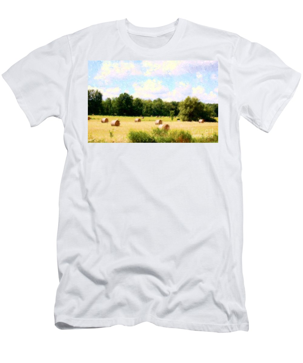 Nature Men's T-Shirt (Athletic Fit) featuring the photograph Rolling The Hay by David Lane