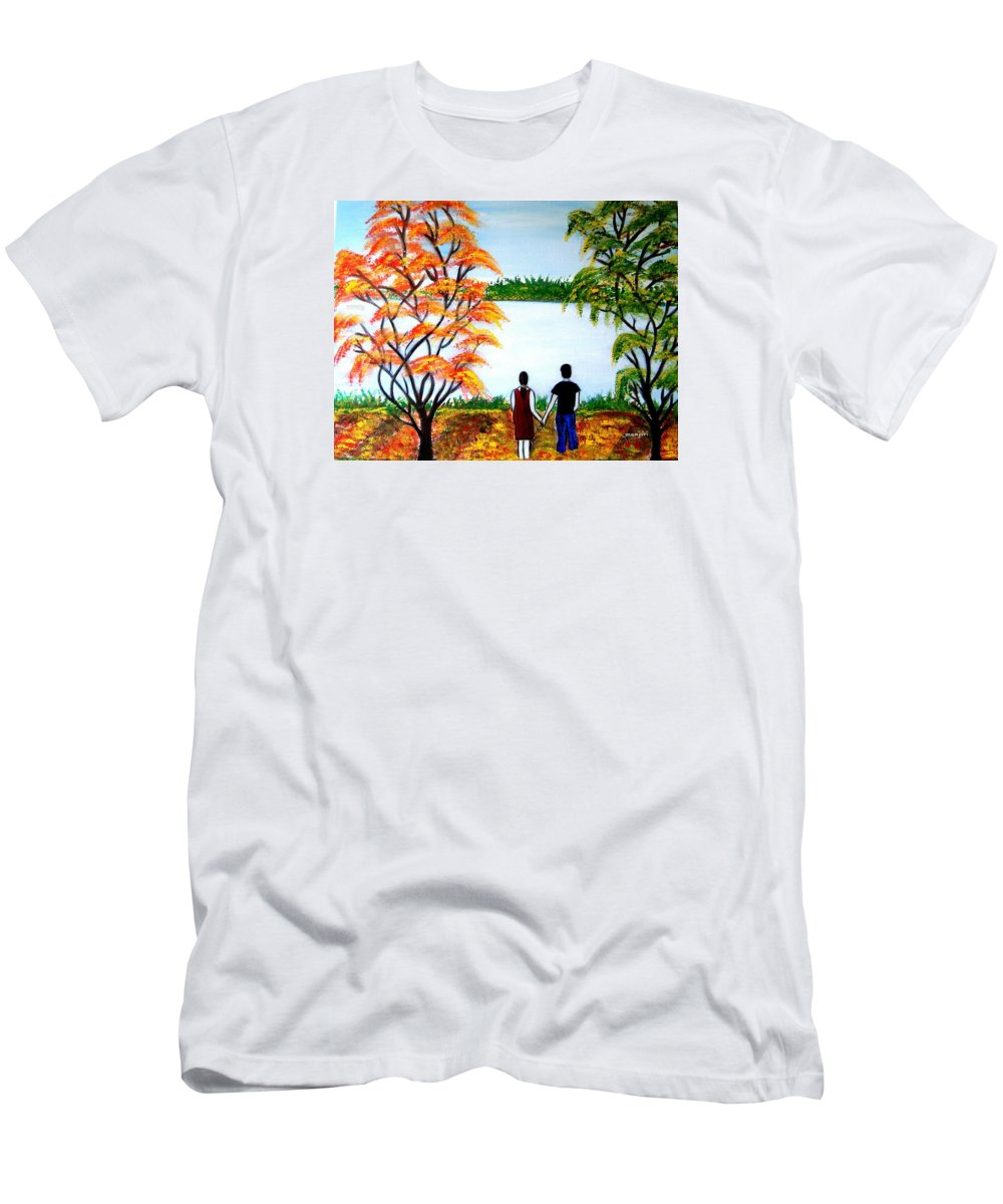 Romance Figures Autumn Orange Trees Green Pop Water Lake Love Valentine Yellow Lake Spring Bloom Men's T-Shirt (Athletic Fit) featuring the painting Romance In Autumn by Manjiri Kanvinde