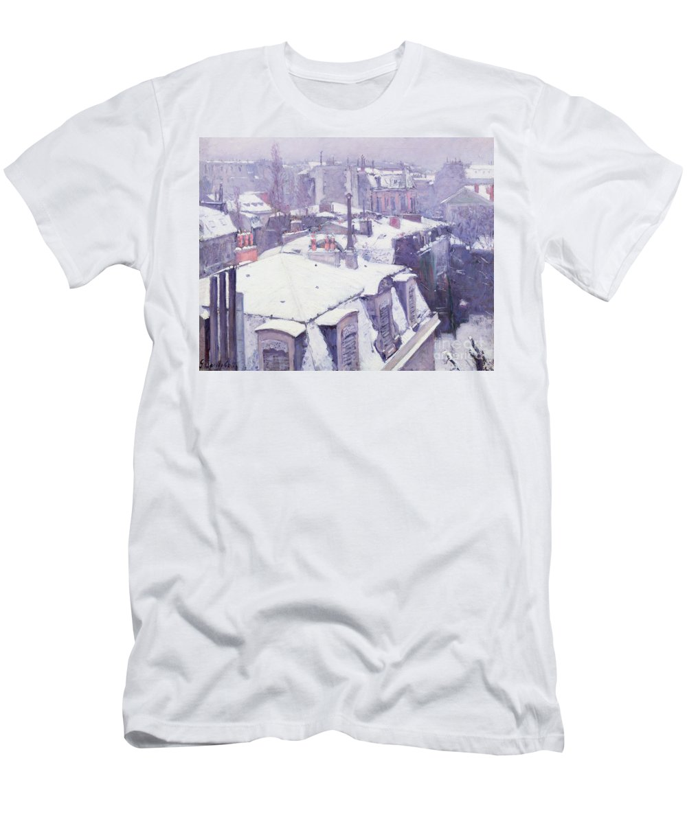 Snow Men's T-Shirt (Athletic Fit) featuring the painting Roofs Under Snow by Gustave Caillebotte