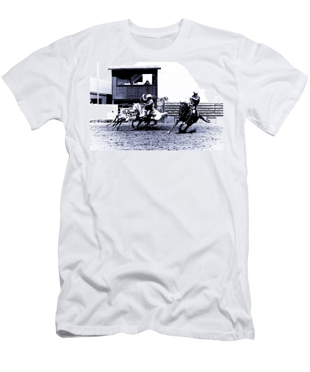 Rodeo Men's T-Shirt (Athletic Fit) featuring the photograph Roping 1 by Scott Sawyer