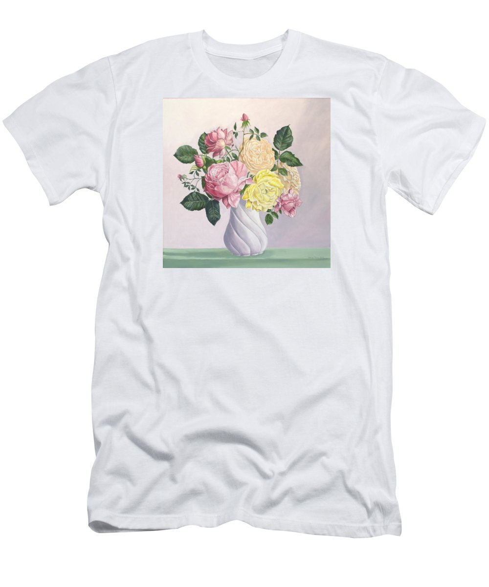 Gold Poster T-Shirt featuring the painting Roses to Remember by Wanda Dansereau