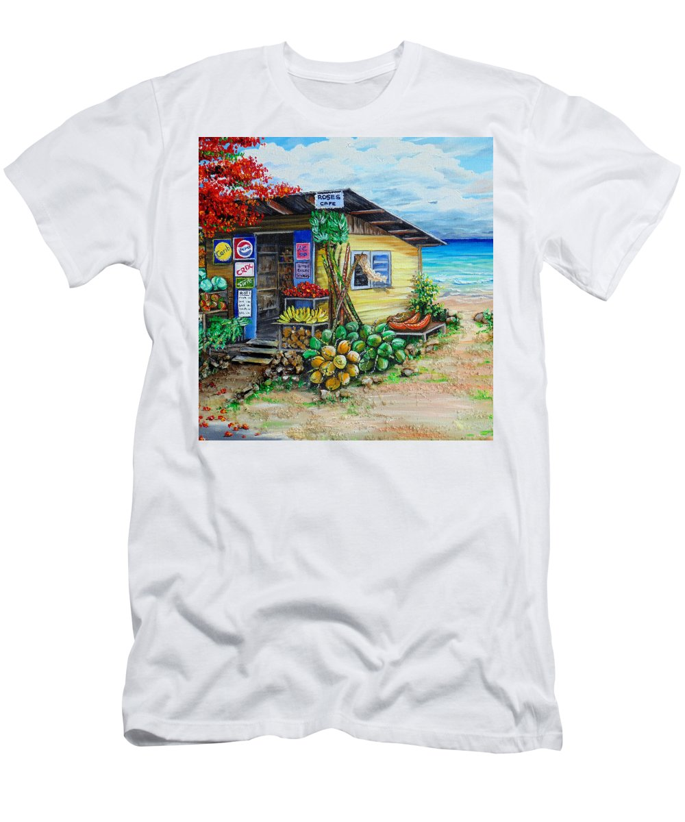 Beach Cafe T-Shirt featuring the painting Rosies Beach Cafe by Karin Dawn Kelshall- Best