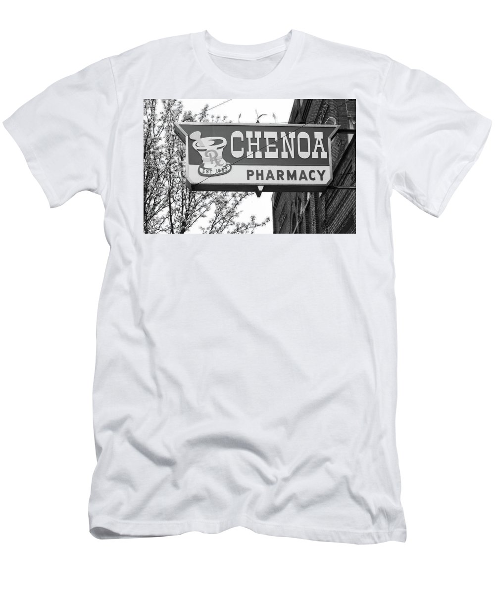 66 Men's T-Shirt (Athletic Fit) featuring the photograph Route 66 - Chenoa Pharmacy Bw by Frank Romeo