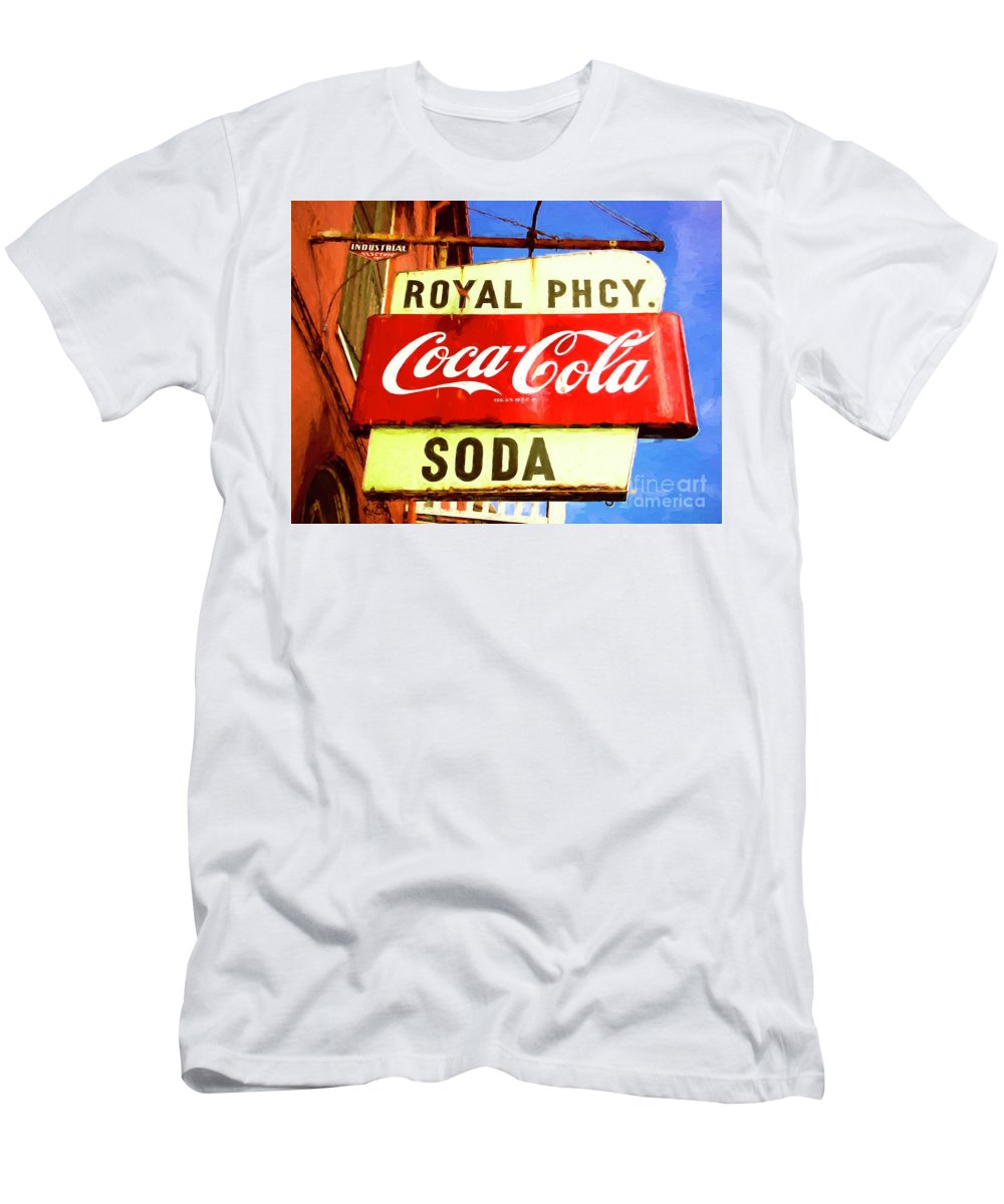 Royal Pharmacy Men's T-Shirt (Athletic Fit) featuring the photograph Royal Phcy Coke Sign by Nancy Forehand