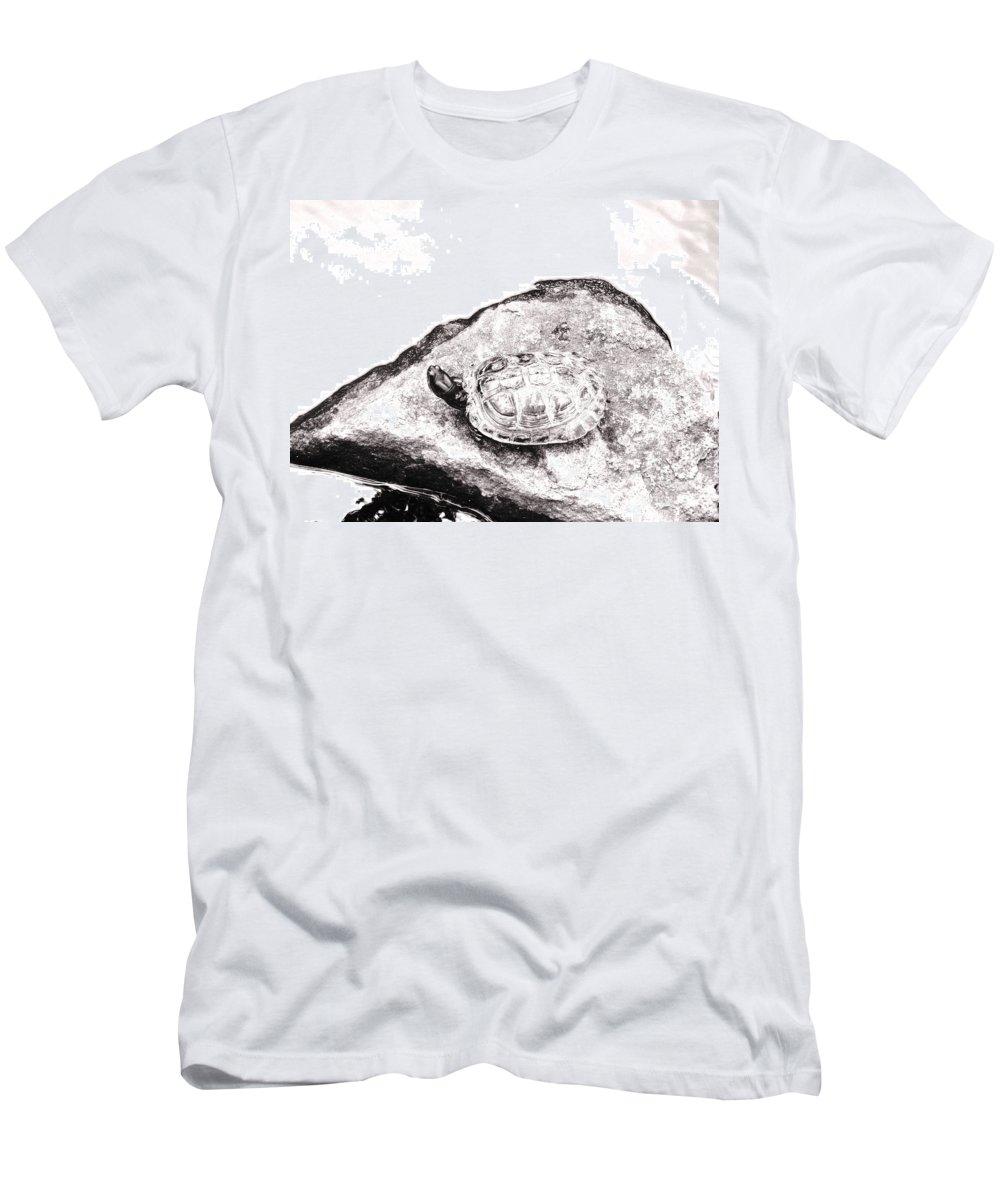 Pond Men's T-Shirt (Athletic Fit) featuring the photograph Rubbernecking Pond Turtle by Deborah Crew-Johnson