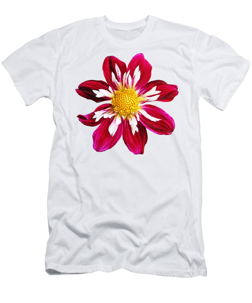 Red Flower Men's T-Shirt (Athletic Fit) featuring the photograph Ruby Glow by Gill Billington