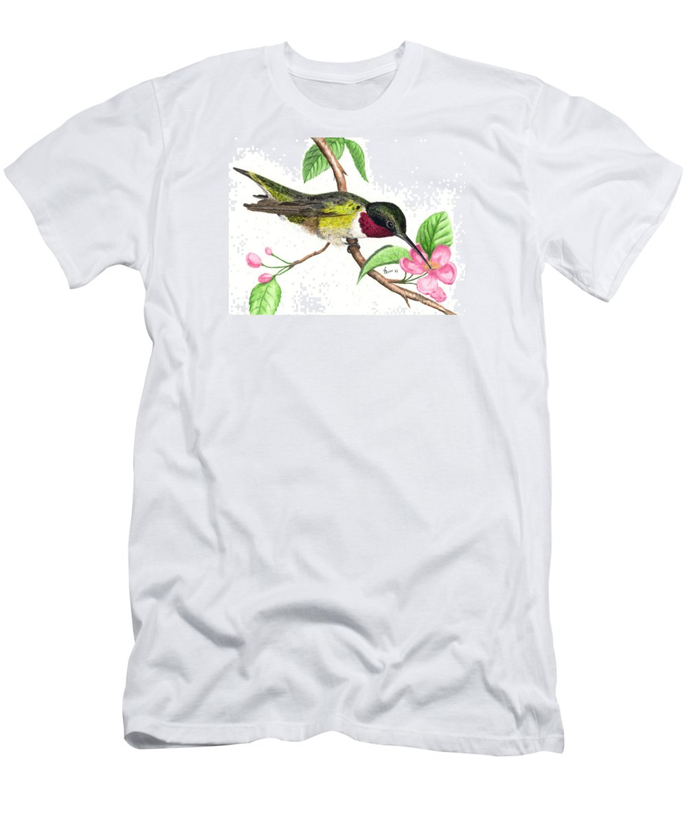 Hummingbird Men's T-Shirt (Athletic Fit) featuring the painting Ruby-throated Hummingbird by Lynn Quinn