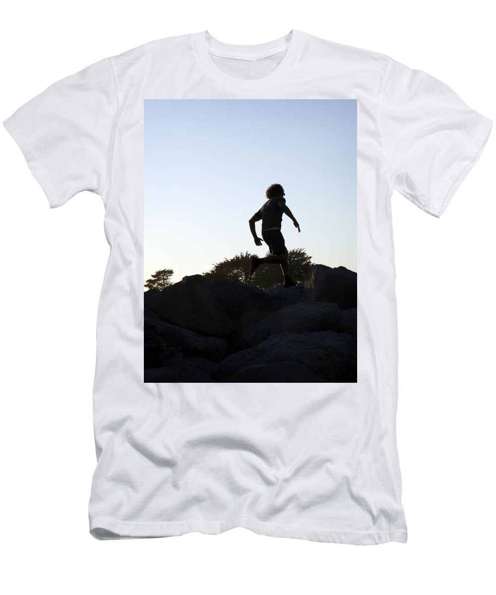 Run Men's T-Shirt (Athletic Fit) featuring the photograph Runner by Marilyn Hunt