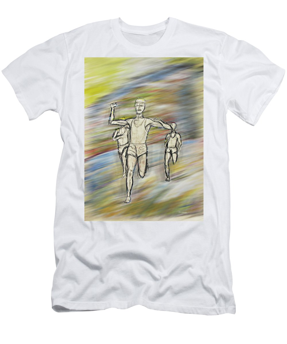 Running Men's T-Shirt (Athletic Fit) featuring the painting Runners by Tom Conway