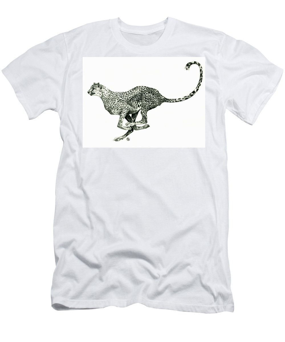 Nature Men's T-Shirt (Athletic Fit) featuring the drawing Running Cheetah by Shirley Heyn