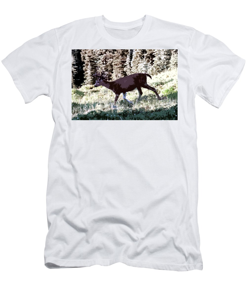 Deer Men's T-Shirt (Athletic Fit) featuring the painting Running Deer by David Lee Thompson
