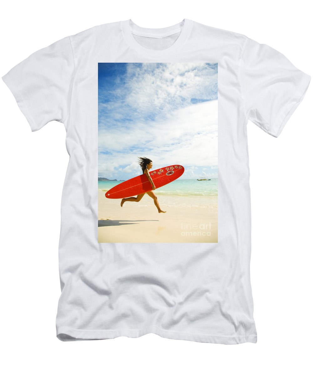 Afternoon Men's T-Shirt (Athletic Fit) featuring the photograph Running With Surfboard by Dana Edmunds - Printscapes
